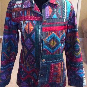 Chico's Design Jacket Multicolored Patch Blazer
